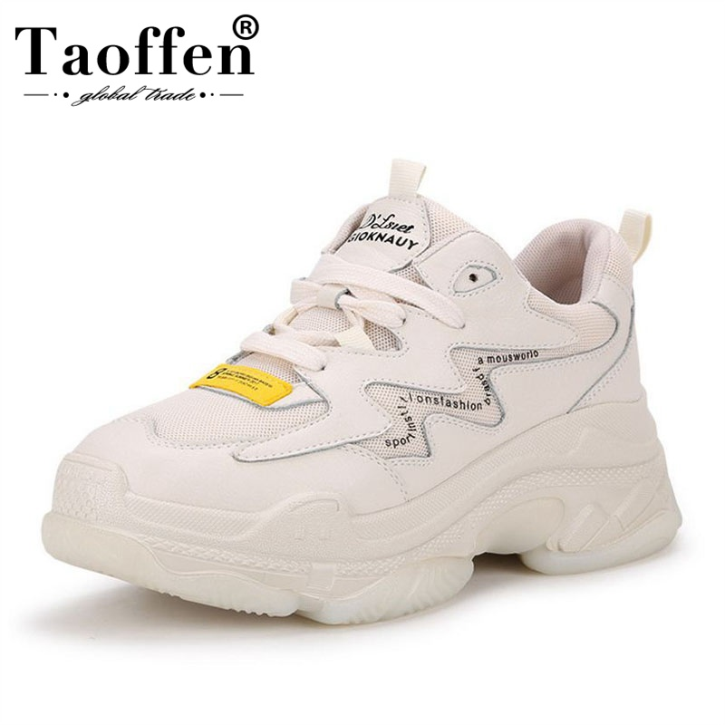 Taoffen Super Hot Thick Bottom Sneakers Women Genuine Leather Shoes New Spring Increase Casual Shoes White Shoes Size 35-40Taoffen Super Hot Thick Bottom Sneakers Women Genuine Leather Shoes New Spring Increase Casual Shoes White Shoes Size 35-40