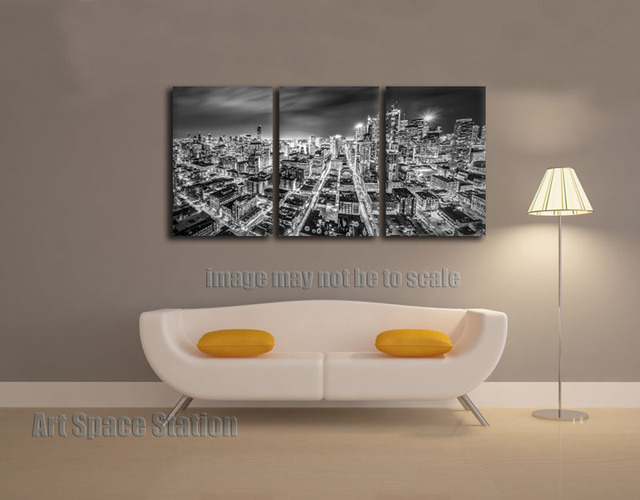 NO FRAMED Modern Cityscape Wall Art Decoration Downtown Toronto City Night Black White Canvas Print