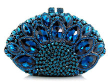 WP1-Lake blue  2016 new design hot sale elegant and luxury Rhinestones African Handbag for wedding/party