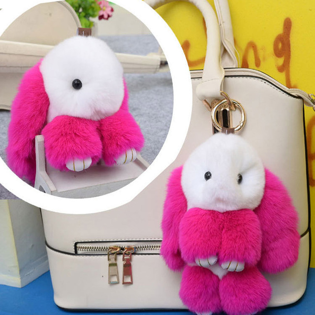 Lovingstoned18cm big Rabbit Cute Imitation Fur Keychain Bag Pendant Holder for Women,Pompom Car Bag Keychain Key Ring Pendant