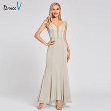 0cafa46e1d Vestido largo de noche de trompeta de plata vestido de noche con cremallera  cuello en v barato vestido formal de fiesta de boda .