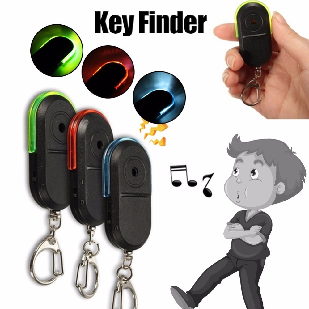 Sound Remote Control Anti-Lost Alarm Key Finder Wireless Locator Keychain Tracker Fashion Whistle Tag with LED Light