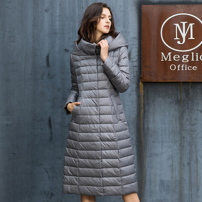 YNZZU Elegant 2018 Winter Jacket Women Solid Long Style 90% White Duck   Down     Coat   Woman with Hooded Thicken Warm Outwears O781