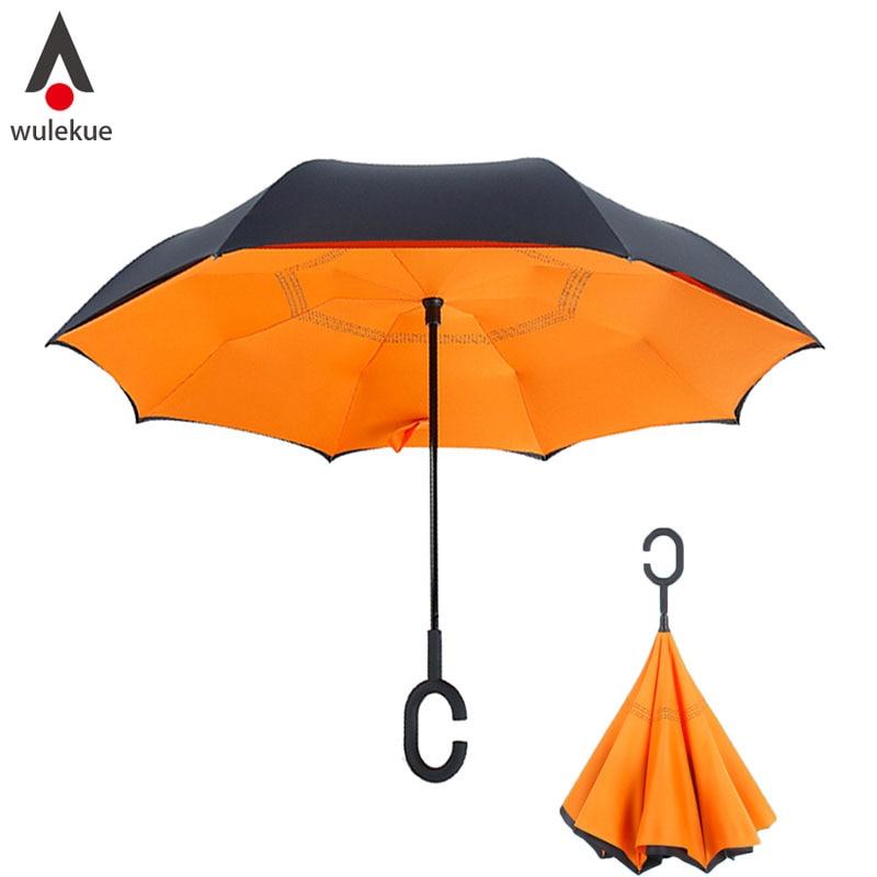 Wulekue Antivento Reverse Pieghevole Invertito Chuva Ombrello Auto Basamento ombrelli