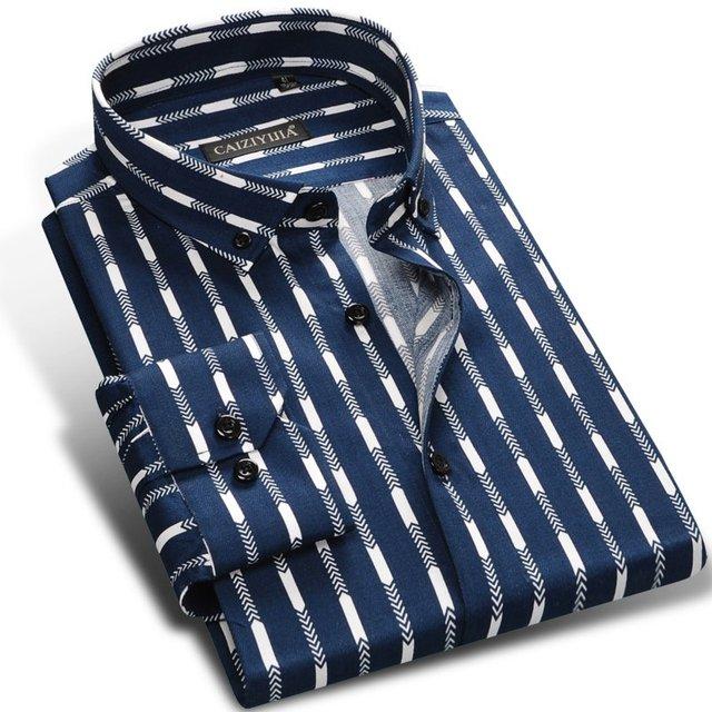 Men Striped Shirt Long Sleeve Boys Famous Brand 100% Cotton Male Fashion Casual Dress Shirts Blue Red  White Business Plus 4XL