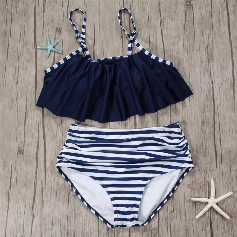 Striped Swimwear Bikini Set Women Swimsuit High Waist Bikini Plus Size 2XL Biquini Brazilian Bathing Suit Girl Swimwear biquine 2017 women plus size swimwear bathing suit push up bikini set brazilian women high waist swimwear plus size swimsuit xxxl