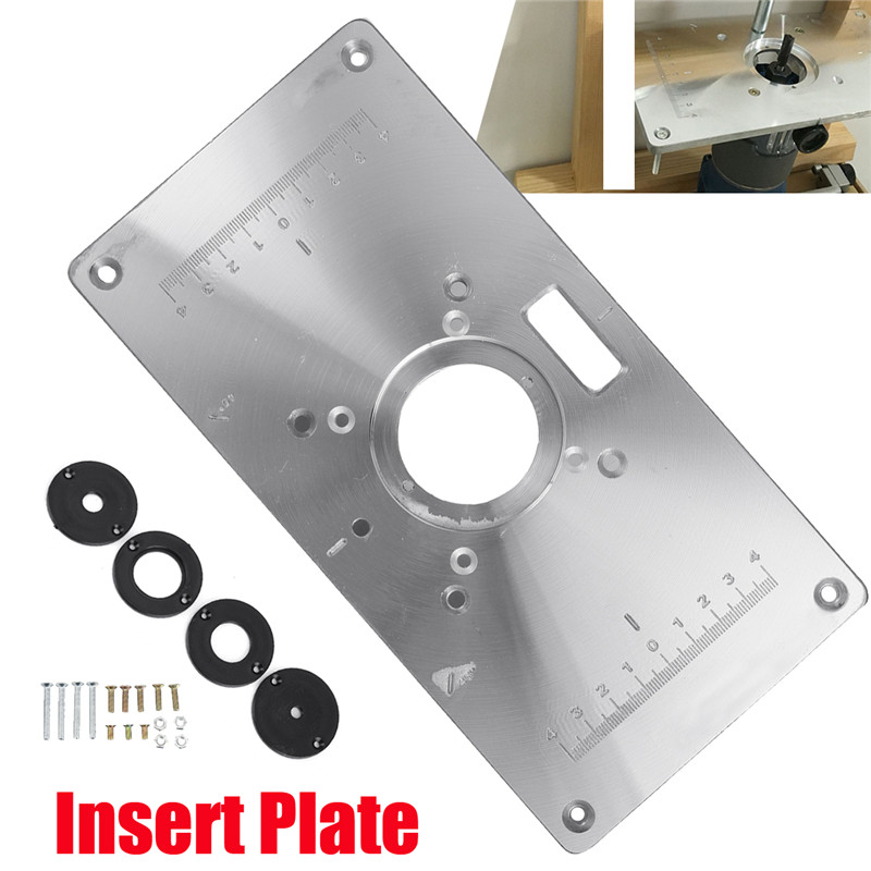 Aluminum Metal Router Table Insert Plate +4pcs Insert Rings For DIY Woodworking Tool Wood Router Trimmer Model Engraving Machine 300 235mm aluminum router table insert plate diy woodworking benches for popular router trimmers models engrving machine