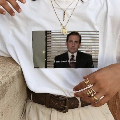 Unisex Tumblr Grunge Fashion White TeeThe Office Michael Scott I Am Dead Inside Quotes Funny T-Shirt image