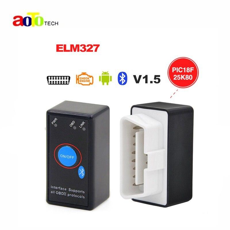 Prix pour ELM327 V1.5 Bluetooth Interrupteur D'alimentation 16Pin OBD scanner fonctionne sur Android Couple Avec puce PIC18F25K80 ELM 327 V 1.5