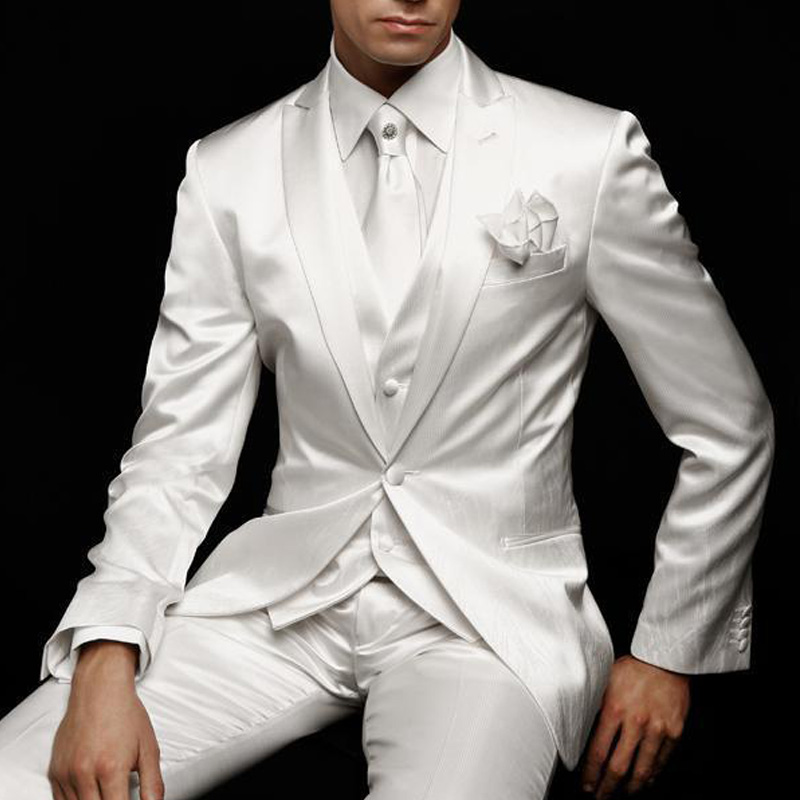 Erkek Kıyafeti'ten T. Elbise'de Beyaz Düğün Mens Suit Damat Smokin 2019 Slim Fit Balo Parti Özel Saten Erkek Takım Elbise 3 Parça Ceket Pantolon yelek Erkek Giysileri'da  Grup 1