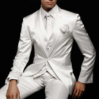 White Slim Fit Mens Suit for Wedding Groom Tuxedos 2019 Prom Party Custom Satin 3 Piece Man Set Jacket Pants Vest Male Clothes - DISCOUNT ITEM  20% OFF All Category