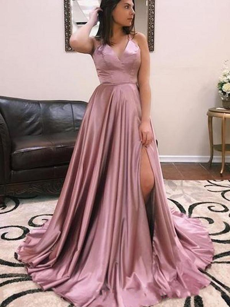 Cinderella Pink V-Neck Spaghetti Straps Court Train A-Line Cross Back Silk Satin   Prom     Dresses   Open Back Party Gown For   Prom