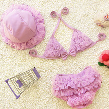Free Shipping 2017 New Swimwear Children Girls Hot Springs Bathing Suit Bikini Super Cute Baby Kids Lace Swimsuit Biquini 3pcs