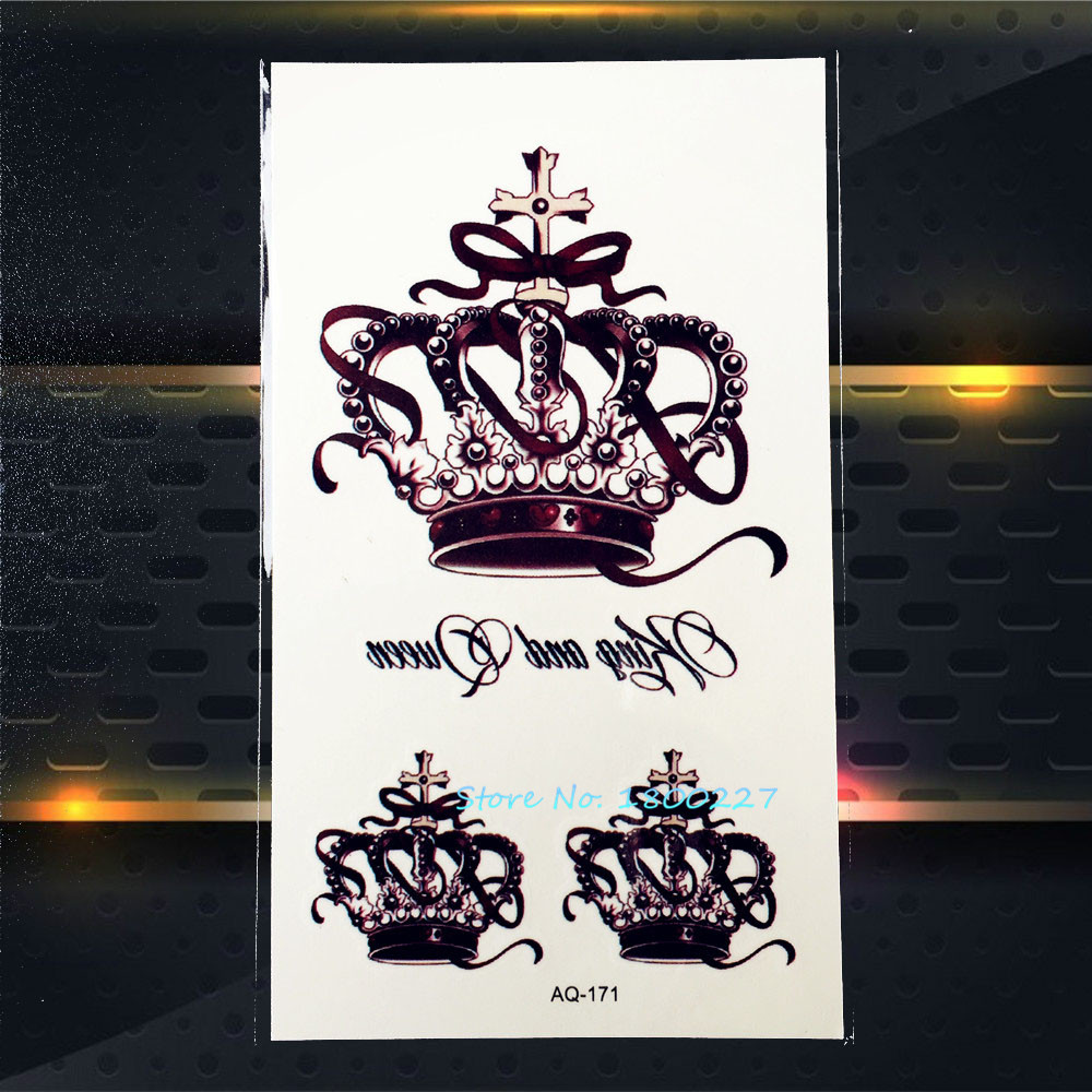 1PC Top Quality Queen Crown Temorary Tattoo Stickers Waterproof PAQ-171 Lady Crown Black Color Pattern Tattoos Paste Paper