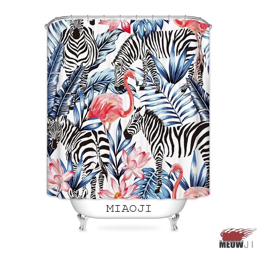 [MIAOJI] Pink Flamingo Tropical Jungle Hawaii Summer Plants Fabric Shower Curtain Bathroom decor various sizes Free Shipping