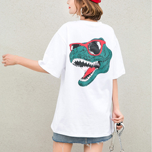 Shintimes Women Clothes 2019 Summer Cotton Animal Print Tshirt Women Plus Size Long T shirt White Tee Shirt Femme Camiseta Mujer недорого