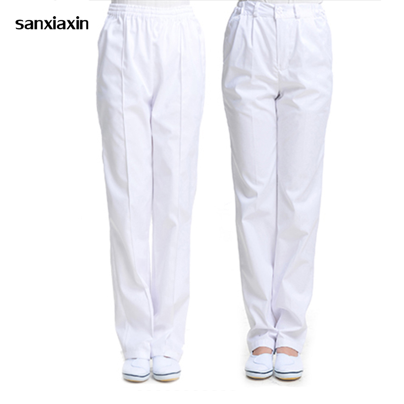 Sanxiaxin New Medical Clothing Summer Nurse Medical Blue Pink White Nurse Pants Elastic Waist Work Bottoms Nurse Pants Female