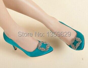 MB Jeweled Blue Satin Silk RV Diamond square buckle Luxury Wedding Brand  Shoes 10cm high heels 41 pointed pump Free ship 3f739bffae6c