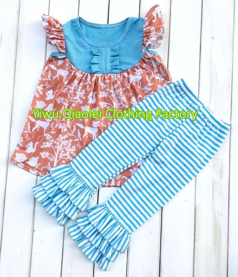 Wholesale high quality cute dress wolf pattern summer boutique girl outfits high quality wholesale