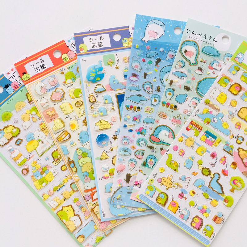 Kawaii Sumikko Gurashi Whale PVC Stickers Adhesive Stickers DIY Decoration Stickers Photo Decorating Scrapbooking Sticker