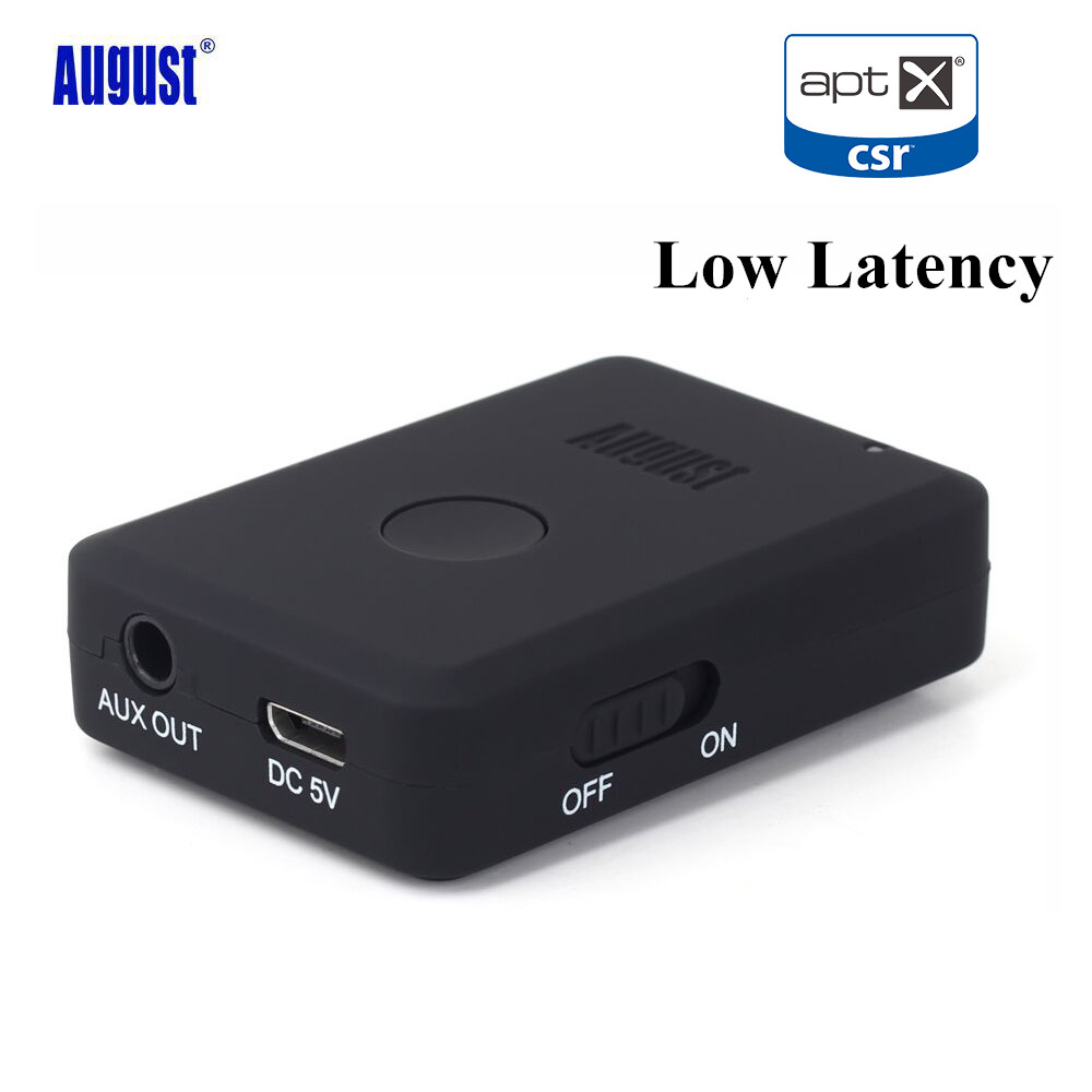 August MR230 aptX Low Latency Wireless Bluetooth 4.2 Audio Receiver 3.5mm Aux Bluetooth Audio Receiver Adapter for Car,Speakers august mr230 aptx low latency wireless bluetooth 4 2 audio receiver 3 5mm aux bluetooth audio receiver adapter for car speakers