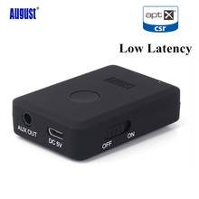 August MR230 aptX Low Latency Wireless Bluetooth 4.2 Audio Receiver 3.5mm Aux Bluetooth Audio Receiver Adapter for Car,Speakers