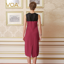 VOA 2017 Summer Heavy Silk Lace Splicing Women Dress Fashion Sleeveless Brief Elegant Temperament Slim Pencil Dress A0323
