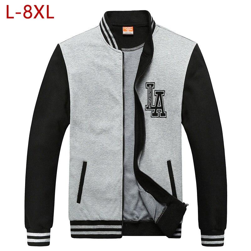 L-8XL hommes grande taille coton veste de Baseball printemps automne mâle décontracté coupe-vent Outwear collège varsité Bomber chandail manteau CF27
