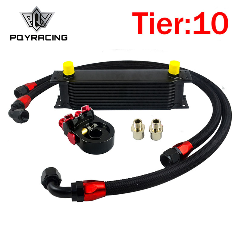 PQY - Universal 10 ROWS OIL COOLER KIT ENGINE +AN10 oil Sandwich Plate Adapte with Thermostat +2PCS NYLON BRAIDED HOSE vr universal 13 rows trust type oil cooler an10 oil sandwich plate adapter with thermostat 2pcs nylon braided hose line