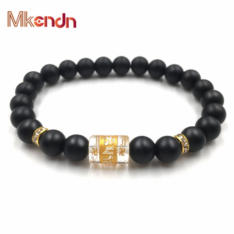 MKENDN Traditional Tibetan Buddhism Matte Stone Bracelet Men Six Words Mantras OM MANI PADME HUM Amulets Beads Bracelet