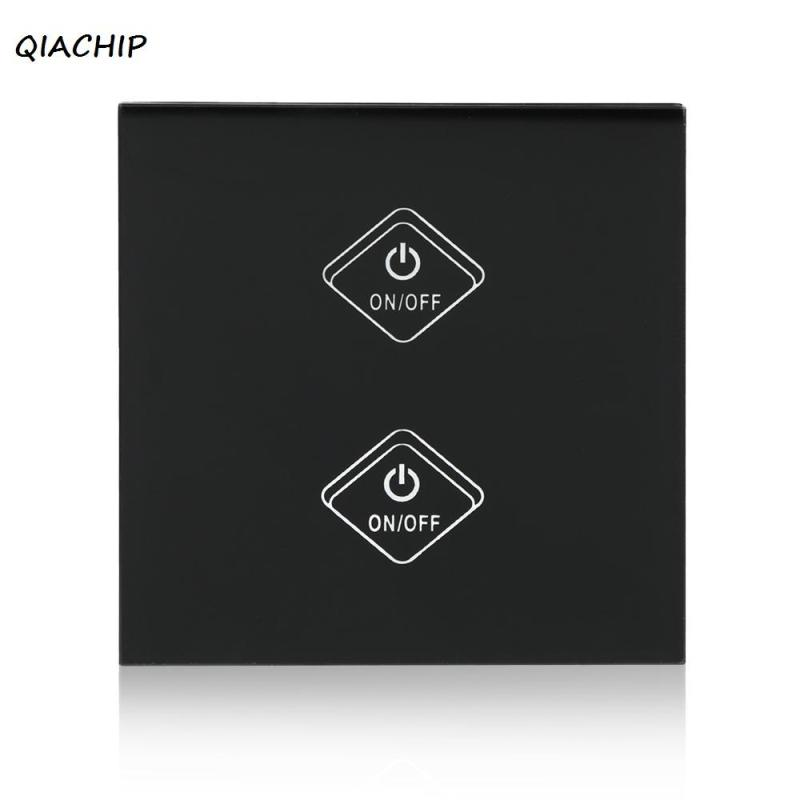 QIACHIP WiFi Smart Switch Touch Screen Panel 2 Gang light wall Wireless Timing Switch Remote Control Via APP For Smart Home H3 ewelink us type 2 gang wall light smart switch touch control panel wifi remote control via smart phone work with alexa ewelink