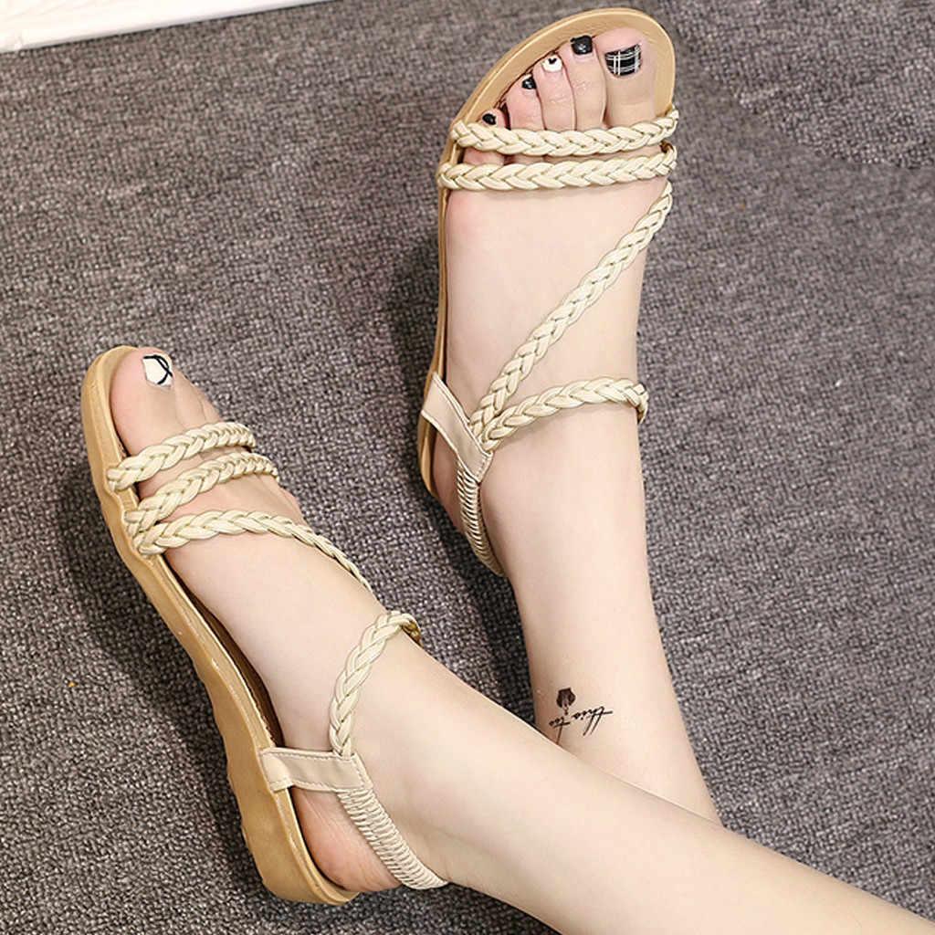 YOUYEDIAN Sommer Frauen Sandalen Schuhe Fisch Mund Römische Schuhe Casual Flache Sandalen Damen Sandalen zapatos de mujer con tacon #25