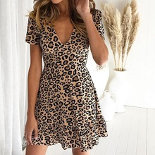 ce8fd1b89901 Casual Short Sleeve Dress Boho Floral Print Dress Women Ladies Sexy V-neck  Leopard Print