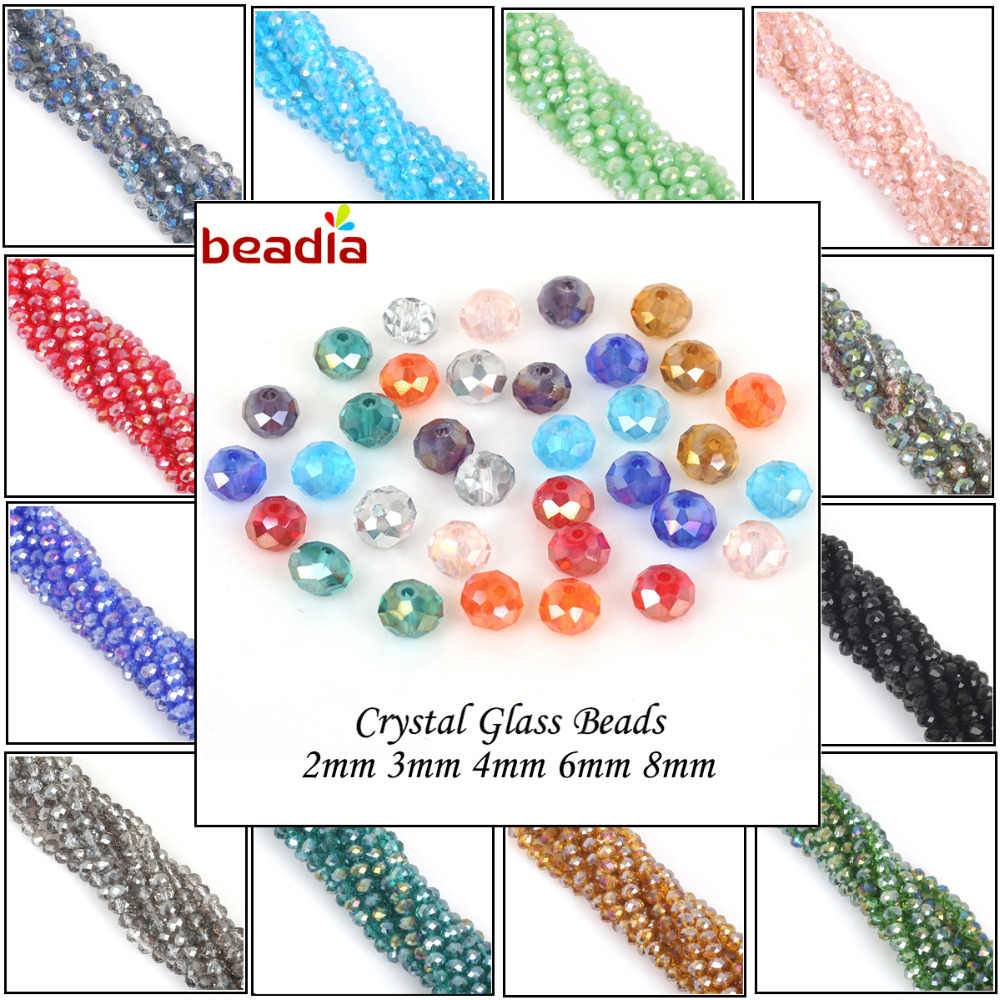 2mm 3mm 4mm 6mm 8mm Rondelle Austria Faceted Crystal Glass Beads Round Loose Spacer Beads Jewelry Making DIY Wholesale In Bulk