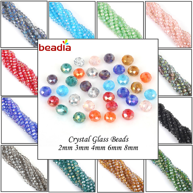 2mm 3mm 4mm 6mm 8mm Rondelle Austria Faceted Crystal Glass Beads Round Loose  Spacer Beads Jewelry 9fb983827b1c