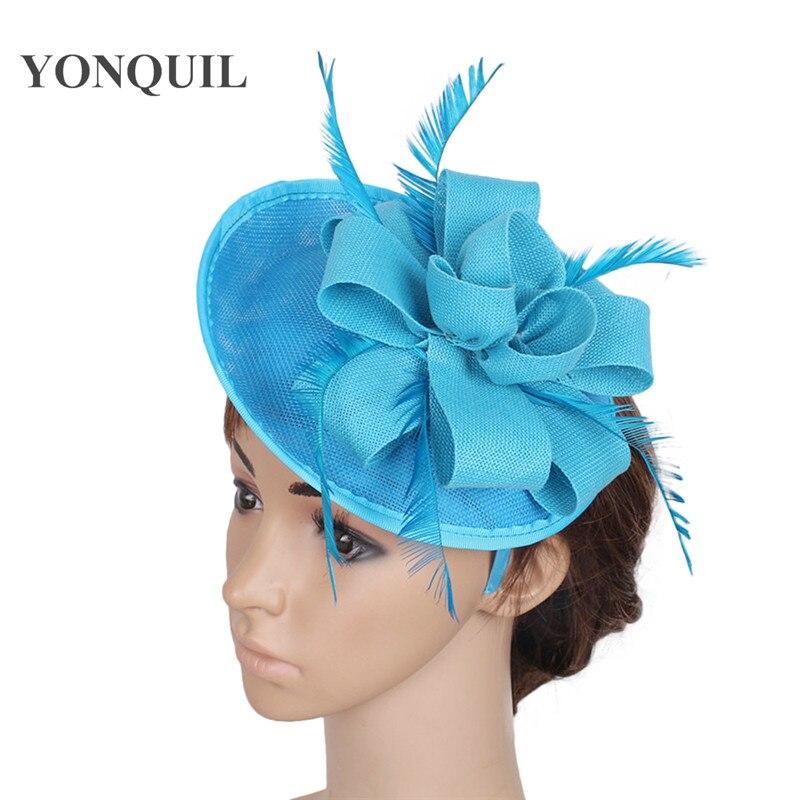 Sea Blue Church Headwear Imitation Sinamay Fascinators Hats Wedding Hair Accessories Bride Party Headpieces High Quality 15color