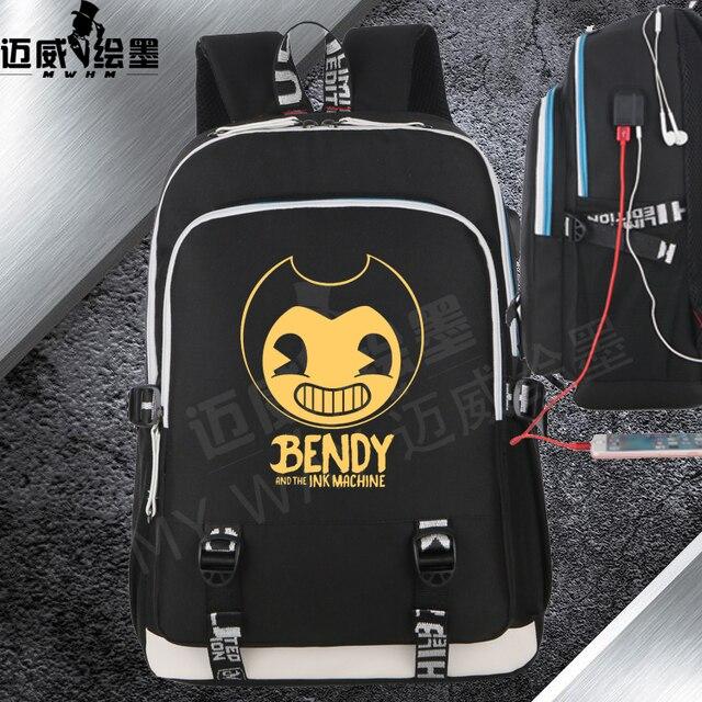 cab9d52efd 2018 new Bendy and The Ink machine backpack student school bag Canvas  Mochila women shoulder travel bag Teenage Girl Backpacks