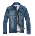 M-5XL men jean jacket men denim jackets for men stand collar 100% cotton outerwear jean jacket men