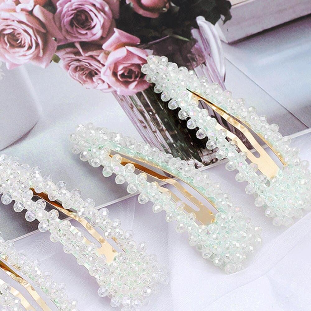 Estilo de Pérolas de Cristal Coreia do Estilo Hairpin Side Clipe Ins Menina 2020 Nova Moda Cocar Feminino 5 Pcs