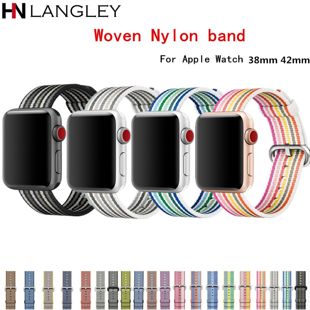 Woven Nylon Bands For Apple Watch band Strap 42mm 38mm iwatch serise 3 2 1 nylon wrist band bracelet & fabric watchband belt mu sen woven nylon band strap for apple watch band 42mm 38 mm sport fabric nylon bracelet watchband for iwatch 3 2 1 black