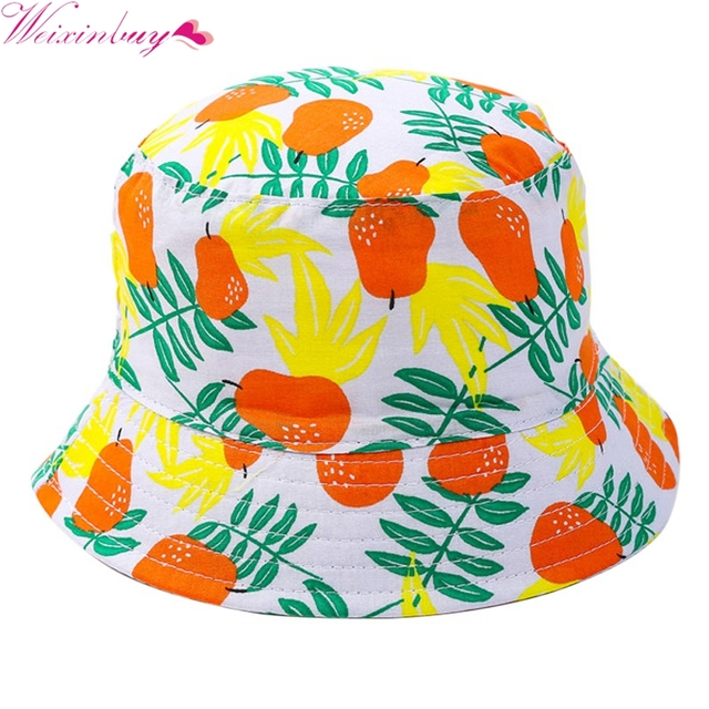 Summer Sun Hats Caps Cotton Bucket Hat Baby Kids Boy Fruit Cap Pear  Patterns Beach fisherman Hat 1-4 Y d5148e28ead