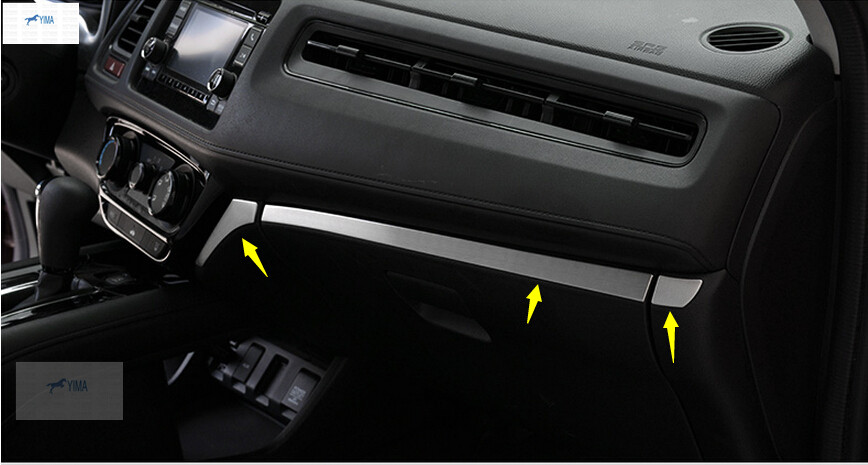 Yimaautotrims Central Control Instrument Panel Cover Trim Fit For Honda HRV HR-V Vezel 2014 2015 2016 2017 Stainless Steel