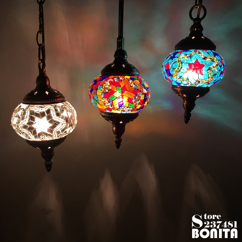 Small Size cord pendant lamp Southeast Asian Turkey restaurant Bar retro Handmade glass mosaic Colorful pendant lighting
