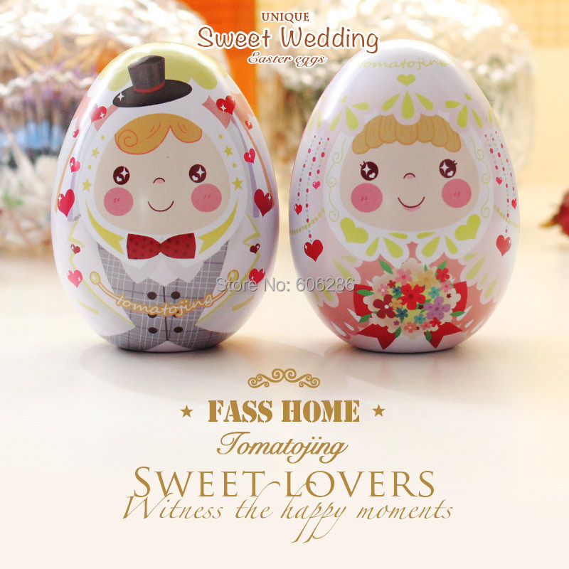 New wholesale 100pcslot small size tinplate bride and groom wholesale 100pcslot small size tinplate bride and groom easter egg candy box and storage case wedding favors supplies in party favors from home garden on negle Image collections