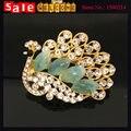 Luxo elegante ouro brilho de cristal cheio de liga de strass pavão broche broche pinos para mulheres presente