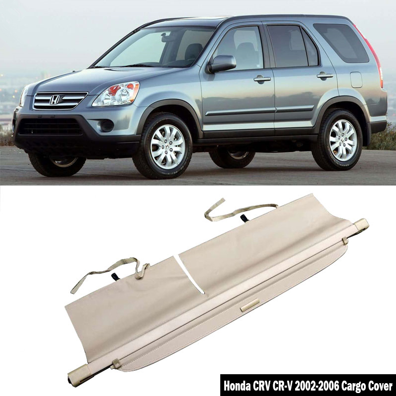 Cargo Cover Fits 2002 2006 Honda Crv 2003 2004 2005 Oem Style Unpainted Black Luggage Cover Trunk Liner Privacy Shade By Ikon Motorsports Rear Deck Covers