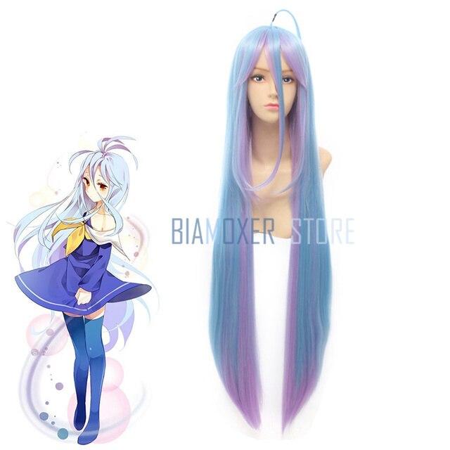 Biamoxer nowy nie gra nie życie Shiro peruka do cosplay s 100cm niebieski gradient żaroodporne włosy syntetyczne Perucas kobiety peruka do cosplay