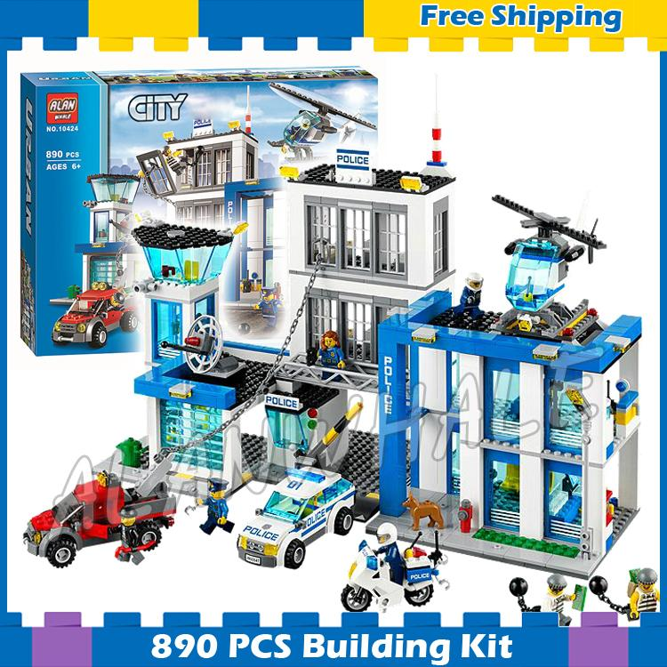890pcs City Police Station New Construction Helicopter 10424 Model Building Blocks Children Gifts sets Kit Compatible With lego police pl 12921jsb 02m