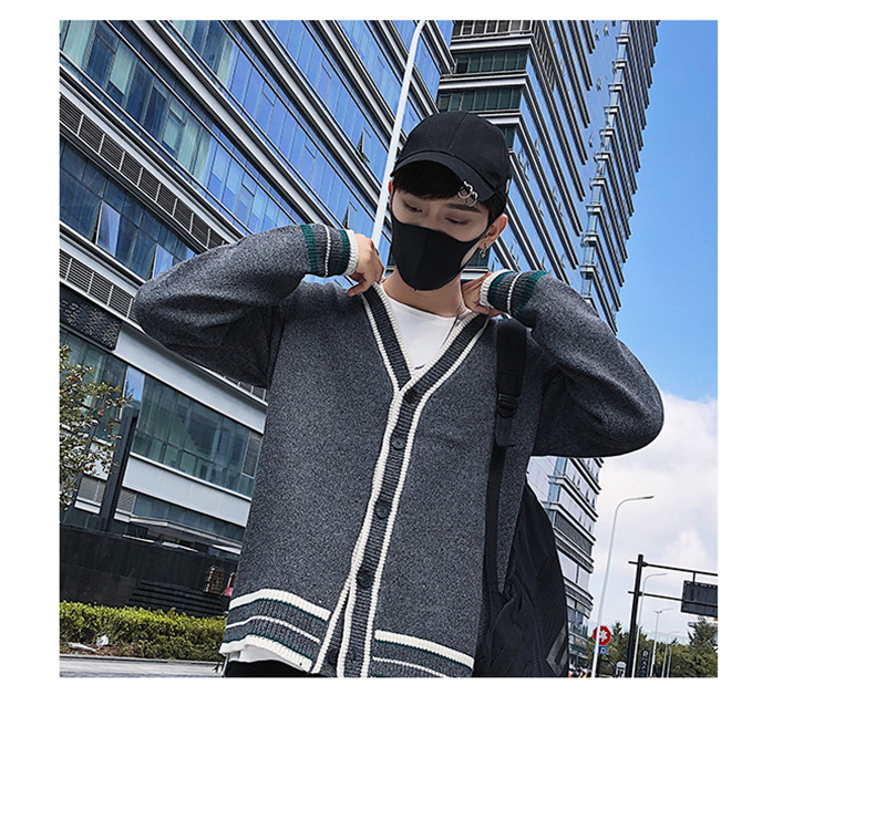 Check Button Cardigan Male Oversize Loose Streetwear (7)