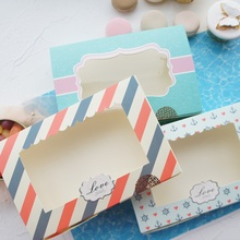 30pcs 21.6*14.5*5cm love blue sea design Paper Box cookie Macaron Chocolate wedding Birthday Party Gifts Packaging